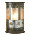 "13"" Picture Jasper Stone Half Round One Light Metal Wall Sconce"