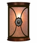 "13"" Round Copper Concho Half Round One Light Metal Wall Sconce"