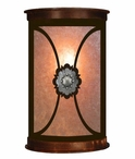 """13"""" Round Silver Concho Half Round One Light Metal Wall Sconce"""