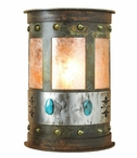 "13"" Turquoise Stone Half Round One Light Metal Wall Sconce"