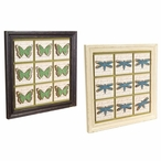"14"" Butterfly & Dragonfly Framed Wood Wall Plaques, Set of 4"