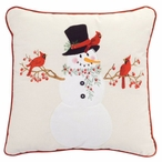 "14"" Snowman with Cardinals Square Throw Pillows, Set of 2"