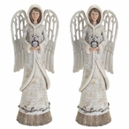 "14"" Woodland Angel with Owl Sculptures, Set of 2"