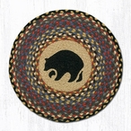 "15.5"" Black Bear Braided Jute Chair Pad, Set of 2"