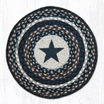 "15.5"" Black Star Braided Jute Chair Pad, Set of 2"