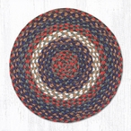 "15.5"" Burgundy Gray Braided Jute Chair Pad, Set of 2"