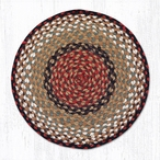 "15.5"" Burgundy Mustard Braided Jute Chair Pad, Set of 2"