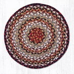"15.5"" Burgundy Mustard Ivory Braided Jute Chair Pad, Set of 2"