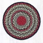 "15.5"" Burgundy Olive Charcoal Braided Jute Chair Pad, Set of 2"