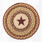 "15.5"" Burgundy Star Braided Jute Chair Pad, Set of 2"