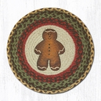 "15.5"" Gingerbread Man Braided Jute Chair Pad, Set of 2"
