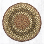 "15.5"" Olive Burgundy Gray Braided Jute Chair Pad, Set of 2"