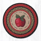 "15.5"" Red Apple Braided Jute Chair Pad, Set of 2"