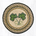 "15.5"" Shamrock Braided Jute Chair Pad, Set of 2"