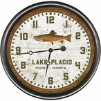 """15"""" Custom Lake Placid Trout Vintage Style Wooden Sign Wall Clock"""