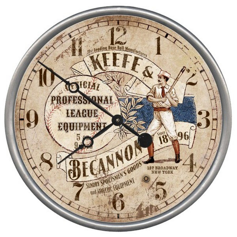 15 Custom Old Time Baseball Vintage Style Wood Sign Wall Clock