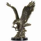 "15"" Tall Landing Eagle Statue - Brass Finish"