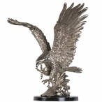 "15"" Tall Landing Eagle Statue - Pewter Finish"