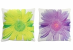 "15"" Velour Lime & Lavender Daisy Square Throw Pillows, Set of 2"