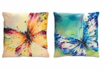"15"" Velour Watercolor Butterfly Square Throw Pillows, Set of 2"