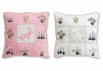 "16"" Bunnies & Flowers Linen Square Throw Pillows, Set of 2"