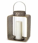 """16"""" Dimpled Pillar Candle Holder with Handles, Set of 3"""