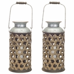 "16"" Wicker Weave Pillar Candle Holder, Set of 2"