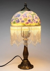 "17.5"" Blue Pansy Flowers Glass and Metal Table Lamp"