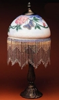 "17.5"" Butterfly and Flowers Glass and Metal Table Lamp"
