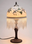 "17.5"" Hummingbird and Flowers Glass and Metal Table Lamp"