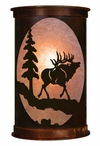 "17"" Elk and Pine Tree Half Round One Light Metal Wall Sconce"