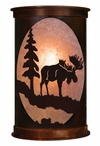 "17"" Moose and Pine Tree Half Round One Light Metal Wall Sconce"