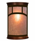 "17"" Mountain Mission Half Round One Light Metal Wall Sconce"