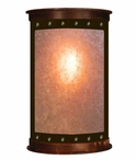 "17"" Open Panel Nail Half Round One Light Metal Wall Sconce"