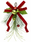 """17"""" Pine with Bow and Bells Silk Arrangement Swags, Set of 6"""