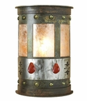 "17"" Red Jasper Stone Half Round One Light Metal Wall Sconce"