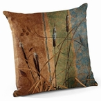 "18"" Cattails Decorative Square Throw Pillows, Set of 4"