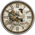 """18"""" Custom Farm Fresh Rooster Time Vintage Style Wood Sign Wall Clock"""