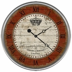 """18"""" Custom French Crown Vintage Style Wood Sign Wall Clock"""