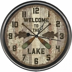 """18"""" Custom Welcome to the Lake Oars Vintage Style Wood Sign Wall Clock"""