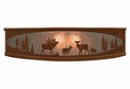 """18"""" Elk Family in the Forest Metal Ceiling Light Fixture"""