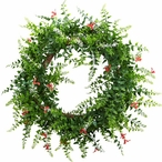 """18"""" Floral and Fern Double Ring Silk Wreath with Twig Base"""
