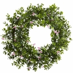 """18"""" Mini Ivy and Floral Double Ring Silk Wreath with Twig Base"""