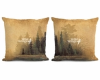 "18"" Misty Forest I & II Decorative Square Throw Pillows, Set of 4"