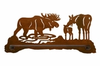 "18"" Moose Family Metal Towel Bar"