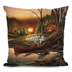"18"" Morning Solitude Camping Scene Square Throw Pillows, Set of 4"