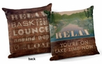 "18"" Relax You're on Lake Time Square Throw Pillows, Set of 4"