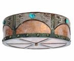 "18"" Turquoise Stone and Concho Metal Ceiling Light Fixture"
