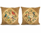 "18"" Summer Birds I & II Decorative Square Throw Pillows, Set of 4"