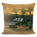 "18"" Summer Sunset Camping Scene Square Throw Pillows, Set of 4"